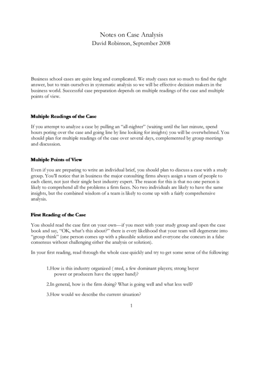 Notes On Case Analysis