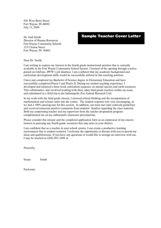 Sample Teacher Cover Letter Printable pdf