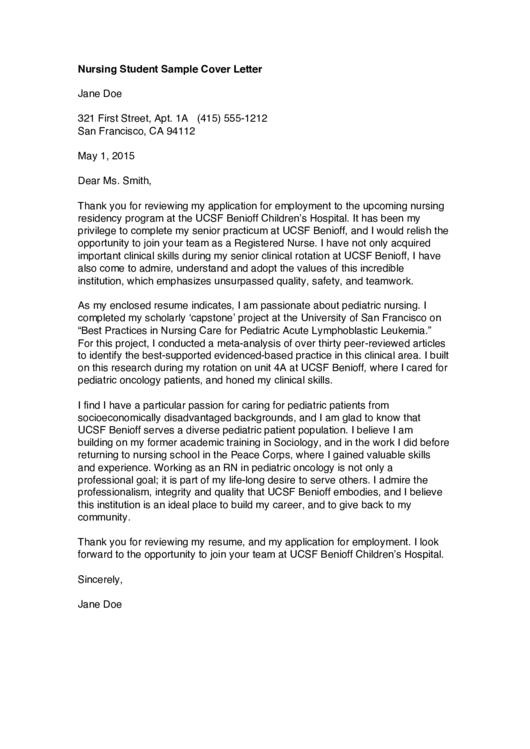 Nursing Student Sample Cover Letter