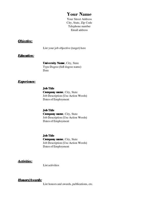 Sample Cv Template Printable pdf