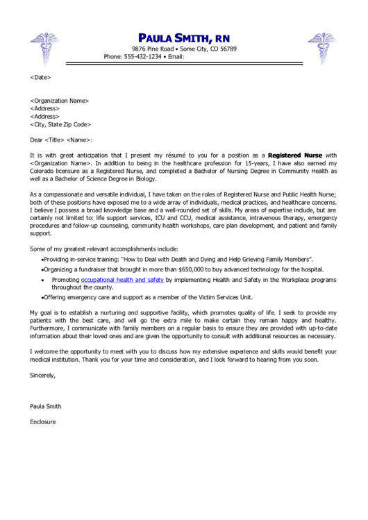 Registered Nurse Cover Letter Template Printable pdf