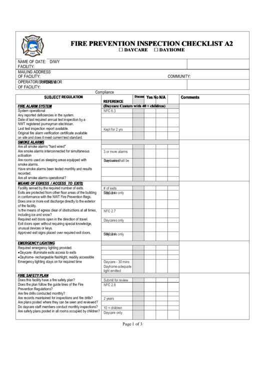 Fire prevention inspection checklist printable pdf download for Fire safety checklist template
