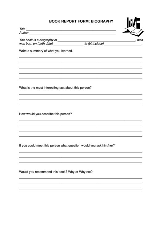 Book Report Form: Biography