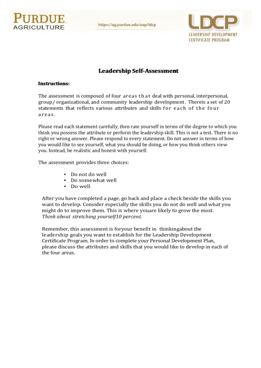 Fillable Ldcp Leadership Self-Assessment Form printable pdf download