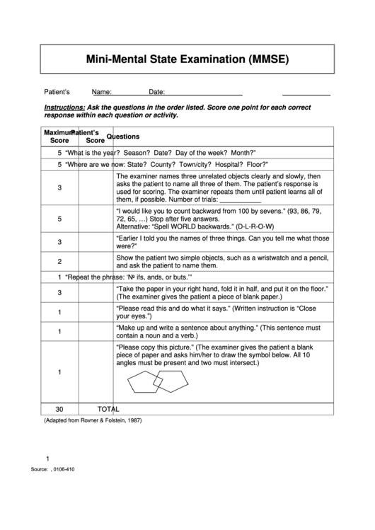 photo relating to Mini Mental Status Exam Printable called Mini-Psychological Nation Assessment (Mmse) printable pdf down load