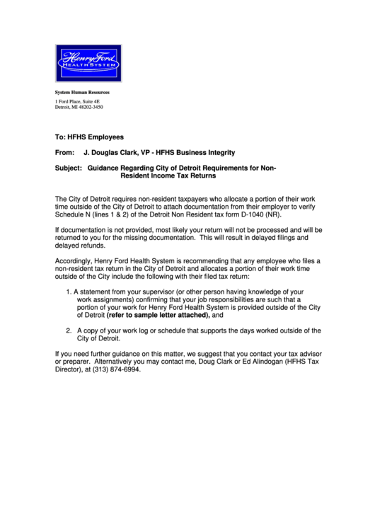Detroit Non-resident Income Tax Return Verification Letter ...