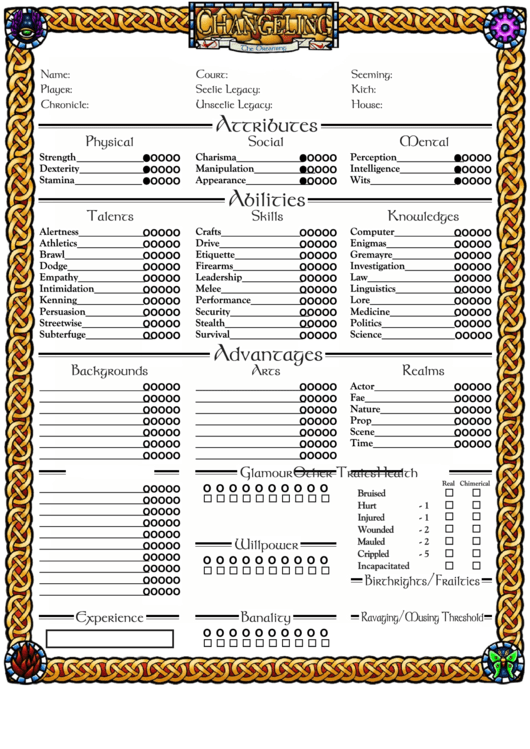 Fillable Changeling The Dreaming Character Sheet printable pdf download