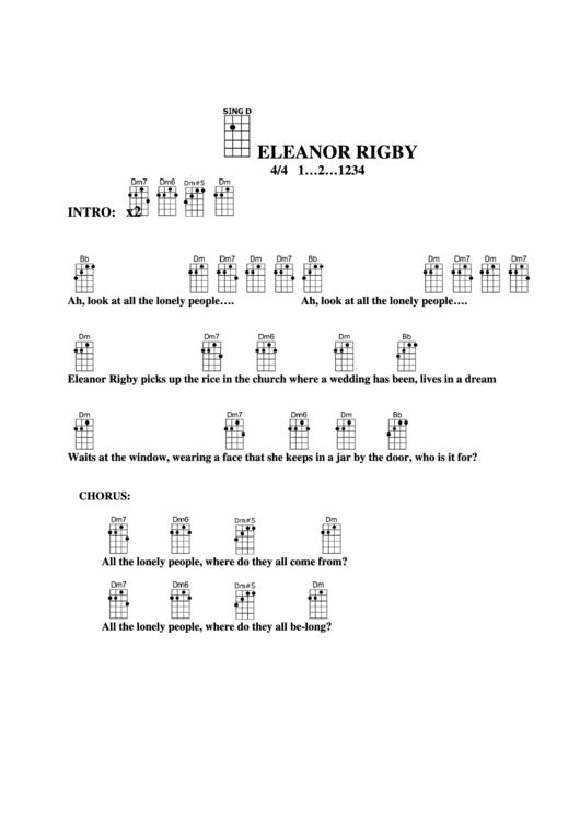 Eleanor Rigby Chord Chart printable pdf download