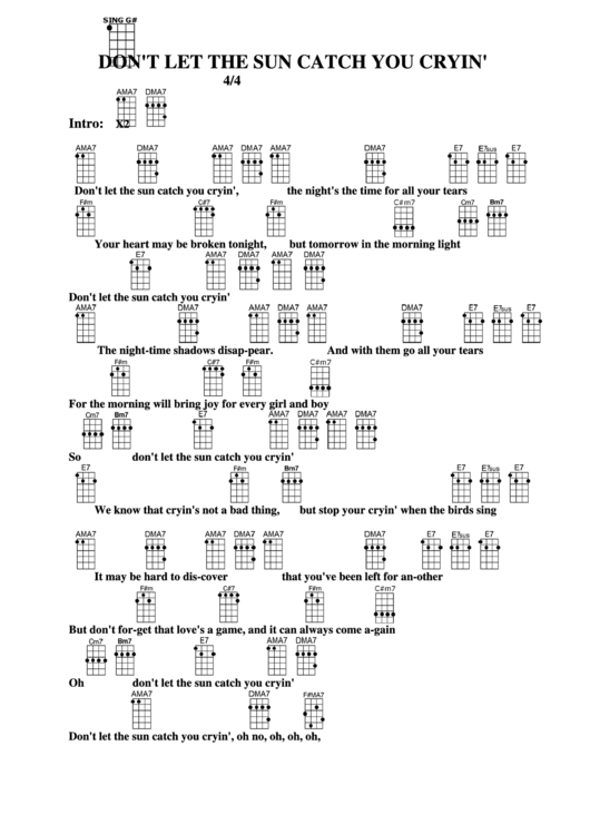 Dont Let The Sun Catch You Crying Chord Chart Printable Pdf Download