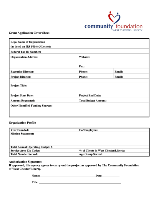 Grant Application Cover Sheet Community Foundation ...
