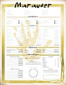 Marauder Character Sheet