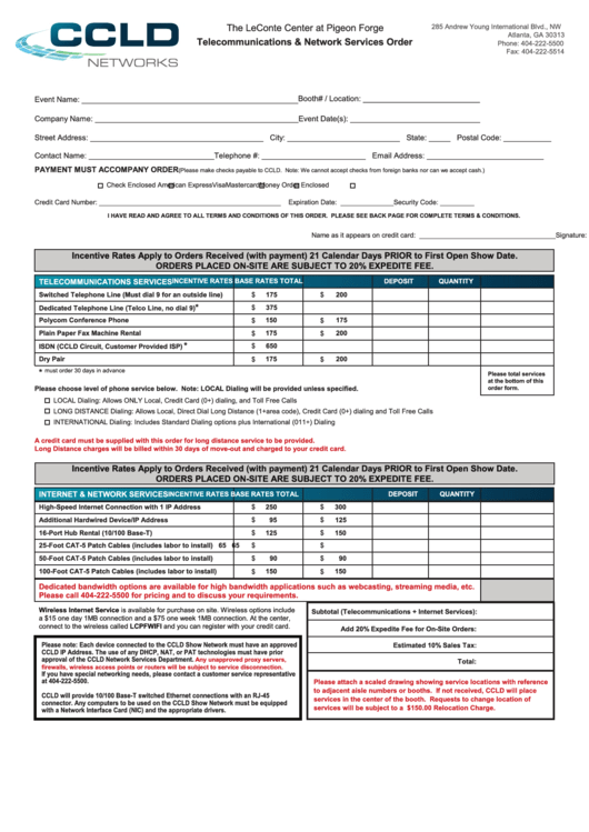 Ccld Networks Telecommunications & Network Services Order printable