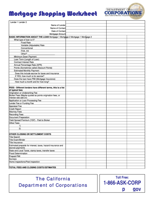 Mortgage Shopping Worksheet Template