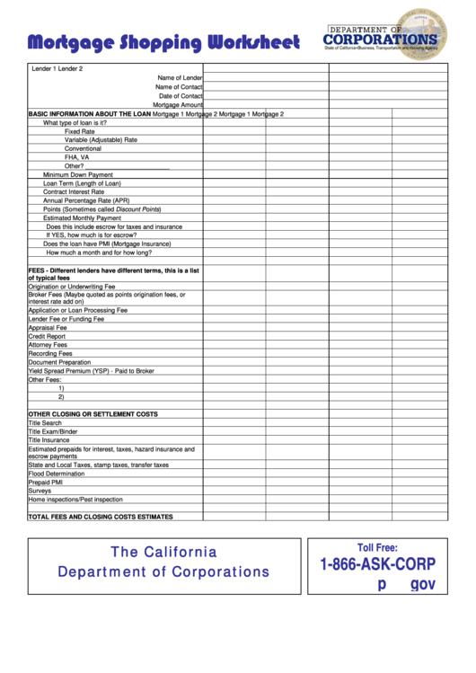 Mortgage Shopping Worksheet Template Printable Pdf Download