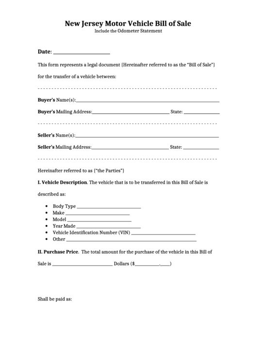 new jersey motor vehicle bill of sale printable pdf download