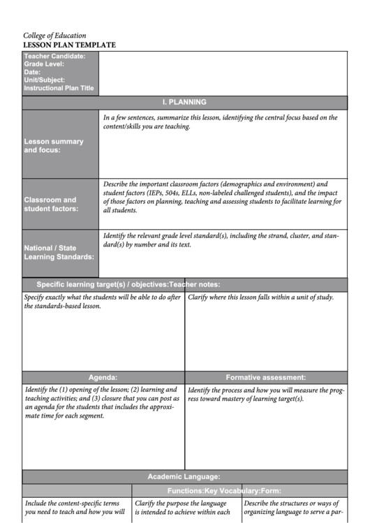 Blank Lesson Plan Template – 15+ Free PDF, Excel, Word ...