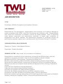 Job Description - Coordinator, Athletics Compliance And Academic Services