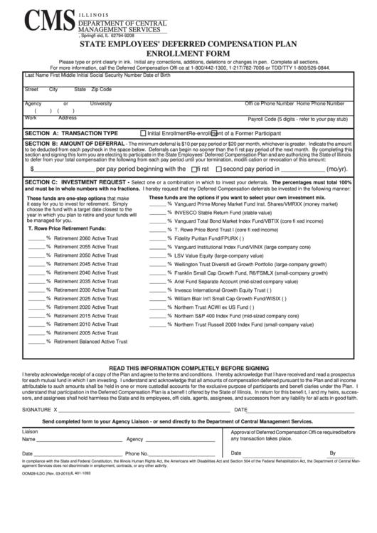 State Employees' Deferred Compensation Plan Enrollment Form