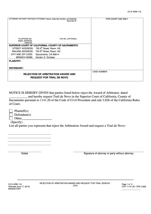 Fillable Form Cv E Arb 116 Rejection Of Arbitration Award Printable