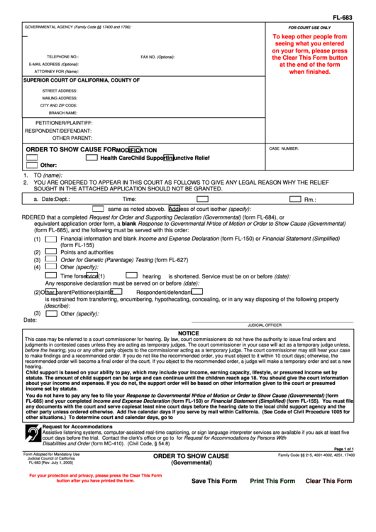 Fl-683 Form - Order To Show Cause For printable pdf download