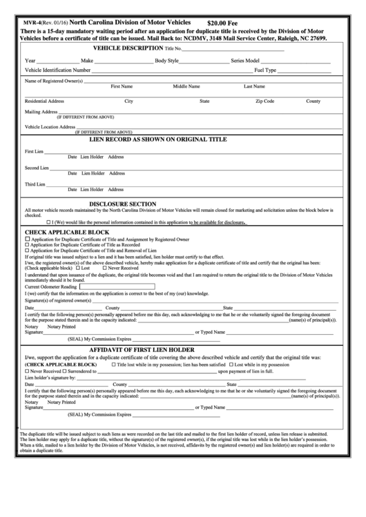 Form Mvr-4 - North Carolina Application For Duplicate Title