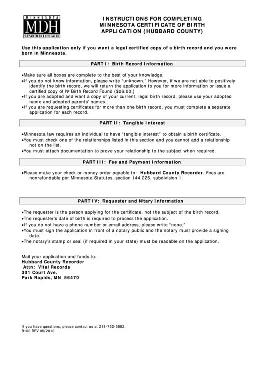 certificate birth minnesota application mdh printable pdf template