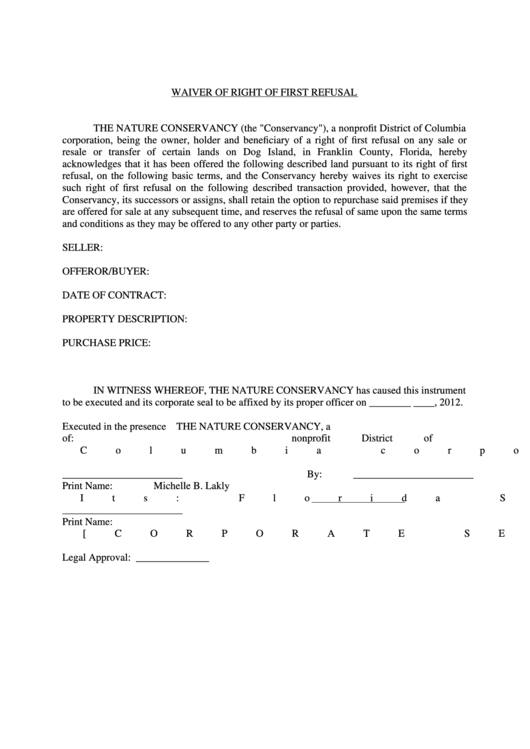 Waiver Of Right Of First Refusal Printable pdf