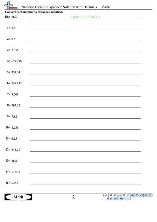 Expanded Form Worksheets Numeric Form To Expanded Notation With