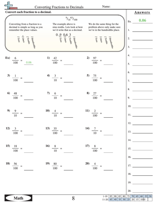 Converting Fractions To Decimals Worksheet With Answer Key Printable Pdf  Download