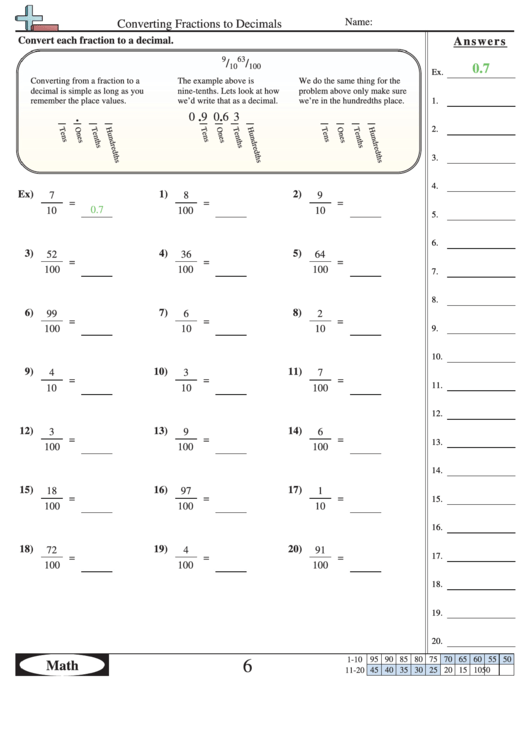 Converting Fractions To Decimals Worksheet With Answer Key ...