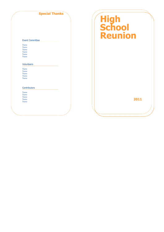 high school reunion program template printable pdf download