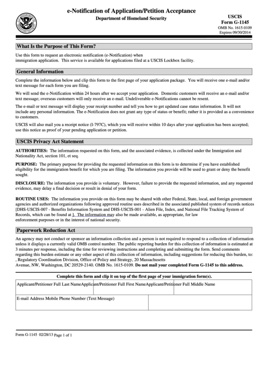 Uscis Form G-1145 - E-notification Of Application/petition ...