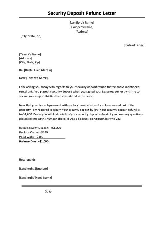 landlord return security deposit letter samples templates forms