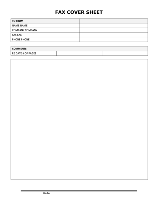Fax Cover Sheet - Black And White