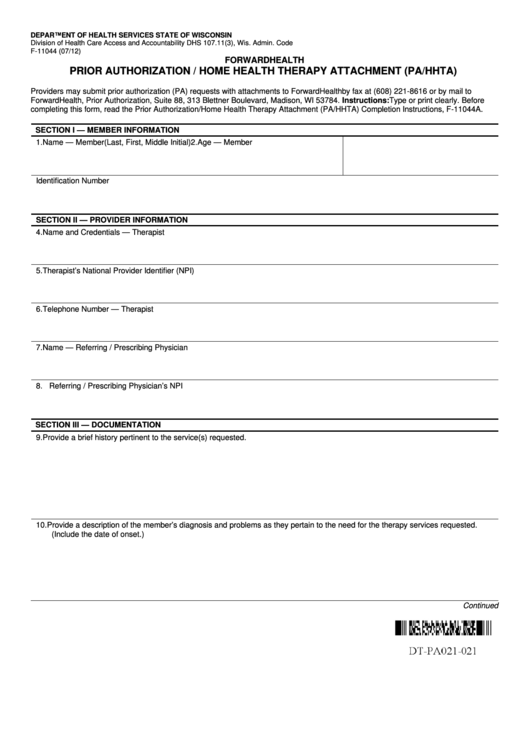 Fillable Prior Authorization / Home Health Therapy Attachment (Pa/hhta) Printable pdf