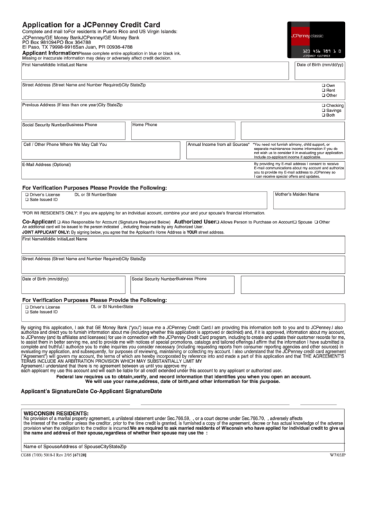 fillable application form for a jcpenney credit card printable pdf