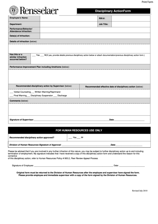Employee Discipline Form Template Free Image collections - Template ...