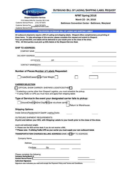 Outbound Bill Of Lading Shipping Label Request Form Printable pdf