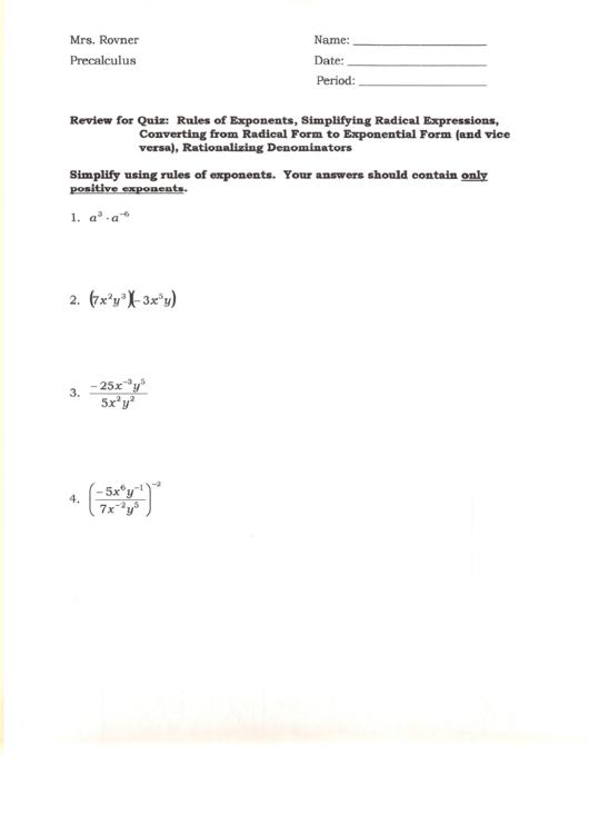 Precalculus Math Test printable pdf download
