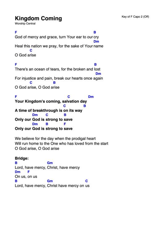 Kingdom Coming - Worship Central (key Of F Capo 2) Chord Chart ...