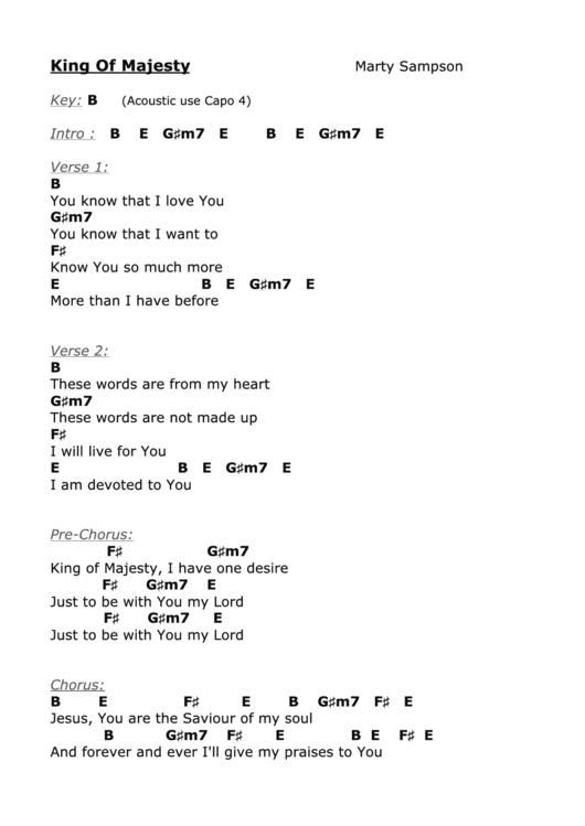 King Of Majesty (b) - Marty Sampson - Worship Chord Chart printable ...