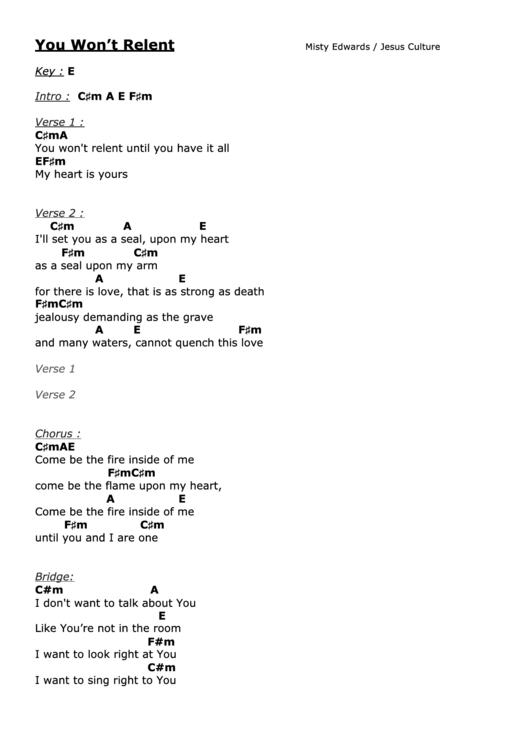 You Won\'T Relent (E) - Misty Edwards - Worship Chord Chart printable ...