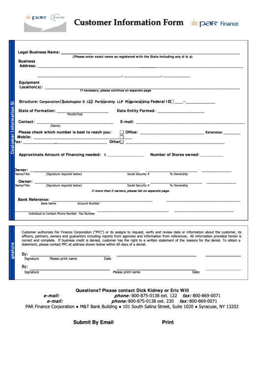 Fillable Customer Information Form Printable Pdf Download