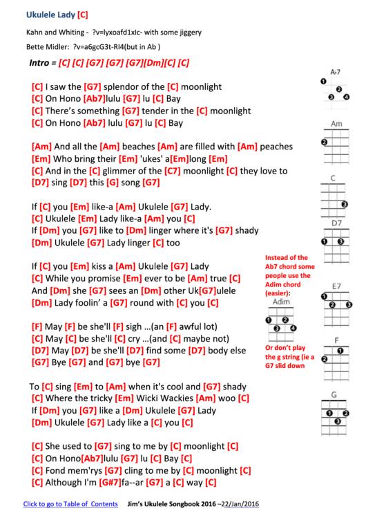 Ukulele Lady Ukulele Chord Chart Printable Pdf Download