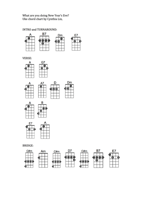 What Are You Doing New Year'S Eve - Uke Chord Chart ...