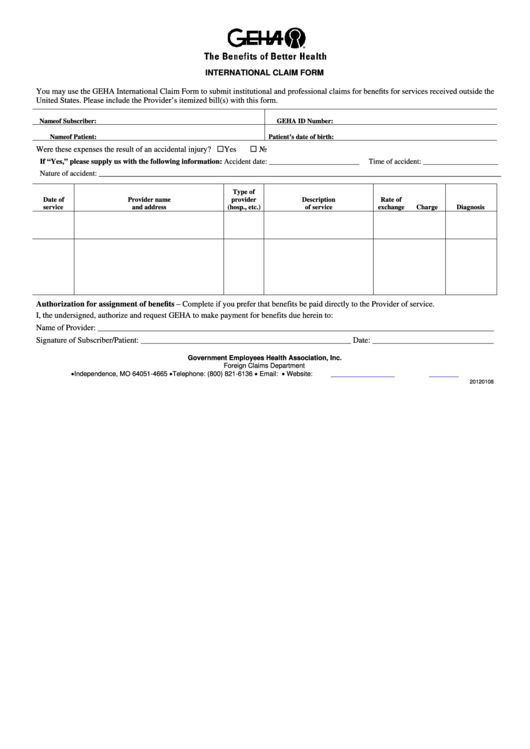 Top Geha Claim Form Templates free to download in PDF, Word and ...