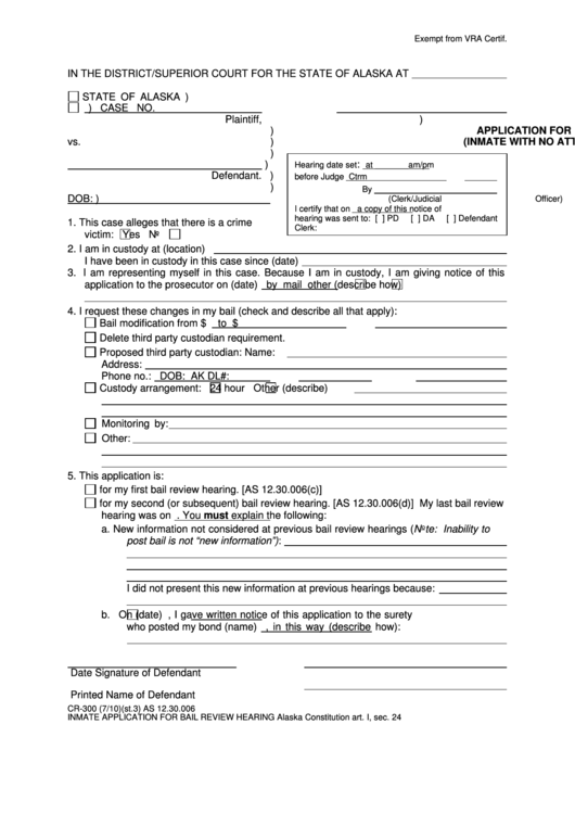 Application For Bail Review Hearing Inmate With No Attorney