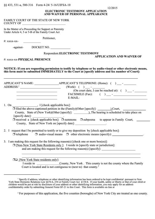 Electronic Testimony Application Form