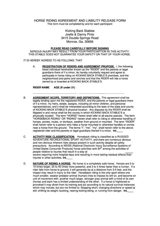 Ca Dmv Release Of Liability >> Horse Riding Agreement And Liability Release Form printable pdf download