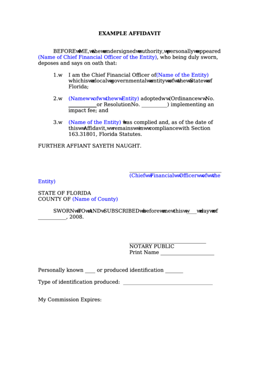 Example Affidavit Form  Free General Affidavit Form Download